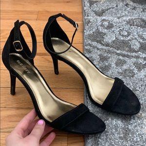 Black strap heels